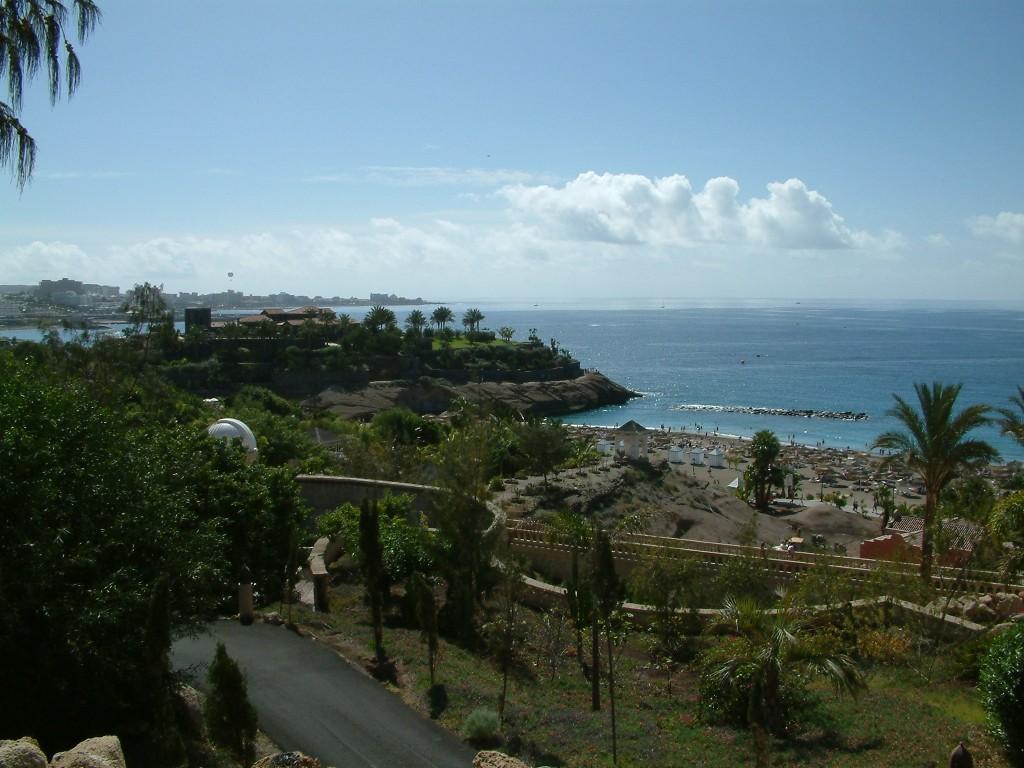 Widok na plażę del Duque z oddali